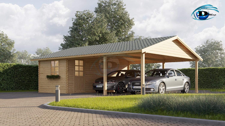 Enormt Dobbelt træ carport med redskabsrum 45m² (6x7,5), 44mm   DIHC.DK FR25