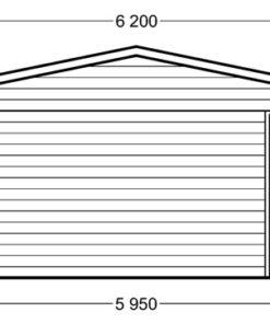 Dobbelt træ carport med skur - PLAN