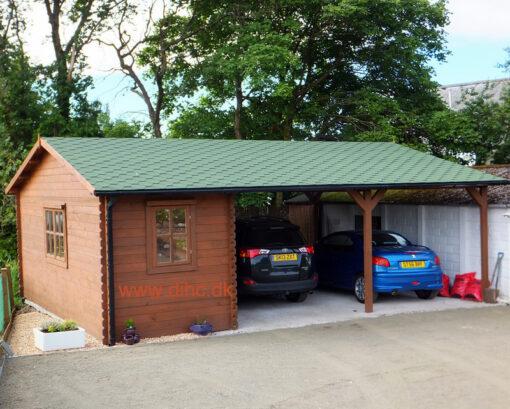 Dobbelt træ carport med skur/redskabsrum 45m² (6x7,5), 44mm