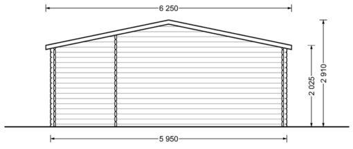 Gæstehus bjælkehytte NICA 36m² - Plan