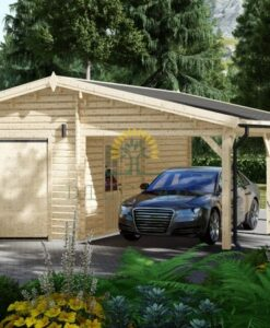Træ garage med carport 40m² (7m x 6m), 44mm