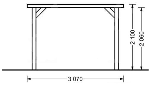 Træ carport Modern 18 m²