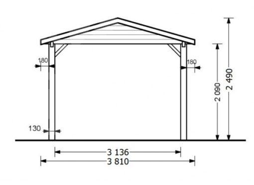 Træ carport Classic 18 m2
