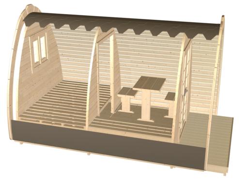 Luksus Camping Pod 4,8 m.-fasad-side
