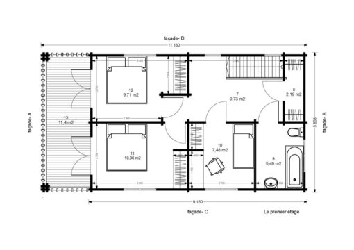 Bjælkehytter - Sommerhus Toulouse 5.85 m x 11.16 m - PLAN