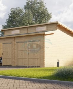 Twin moderne træ garage 36m², 44mm
