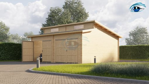 Twin moderne træ garage 36m², 44mm