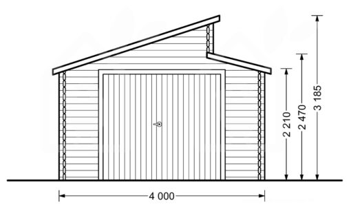 Twin træ garage 24m², 44mm - PLAN