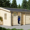 Dobbelt alternativ træ garage 36m², 44mm/66mm