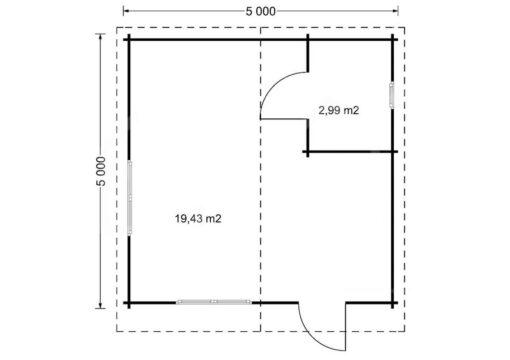 Gæstehus bjælkehytte NICA 25m²-PLAN
