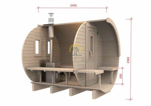 Sauna tønde 2,4 m / Ø 2,27