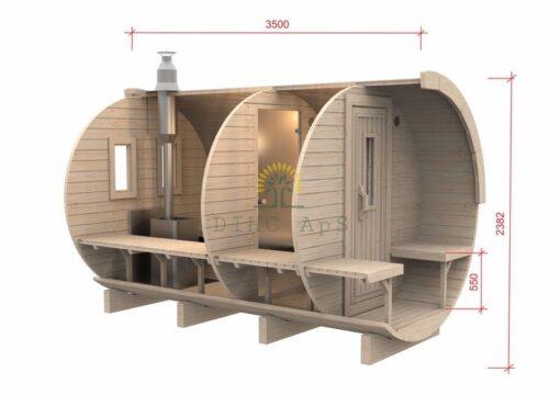 Sauna tønde 3,5 m / Ø 2,27 (med 1 m omklædningsrum)