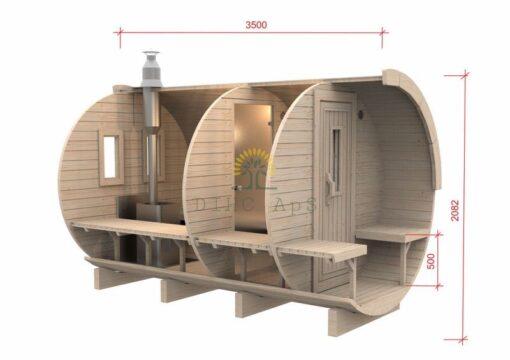 Saunatønde 3,5 m / Ø 1,97 (med 1 m omklædningsrum)
