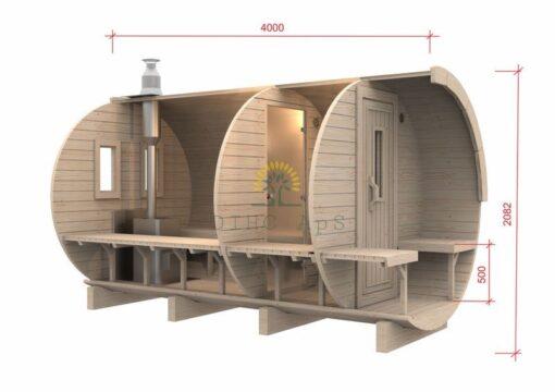 Sauna tønde 4.0 m / Ø 1.97 (med 1 m omklædningsrum)