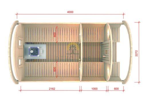 Sauna tønde 4.0 m / Ø 2.27 (med 1 m omklædningsrum)
