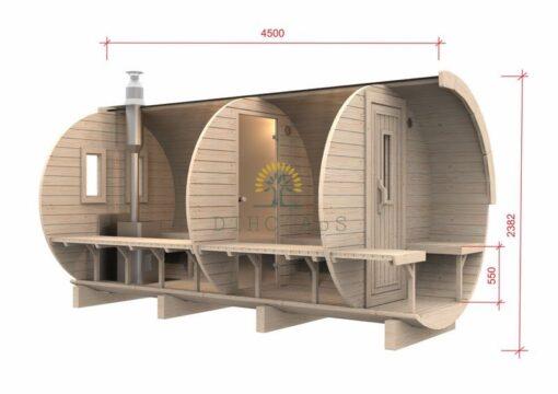 Sauna tønde 4.5m / Ø 2.27 (med 1.5 m omklædningsrum)