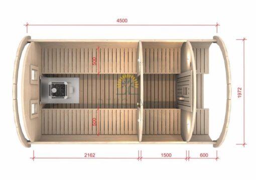 Sauna tønde 4.5 m / Ø 1.97 (med 1.5 m omklædningsrum)