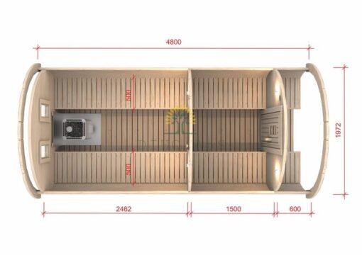 Sauna tønde 4.8 m / Ø 1.97 (med 1.5 m omklædningsrum)