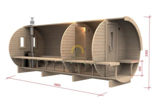 Sauna tønde 5,9 m / Ø D-2.27