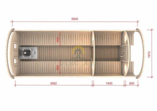 Sauna tønde 5,9 m / Ø D-1.97