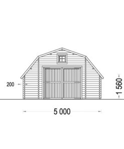 Træ garage Sawyer 30m² (5x6), 44mm - PLAN