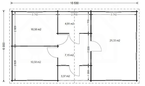 Bjælkehus Fill 61,8 m² - PLAN
