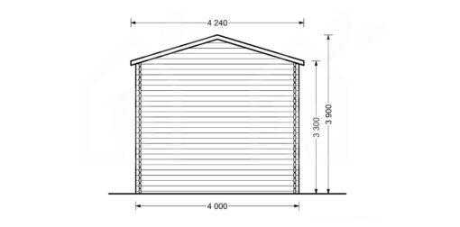 Høj garage 32m², 44mm - PLAN