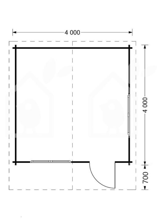 Bjælkehytte DREUX 16m²