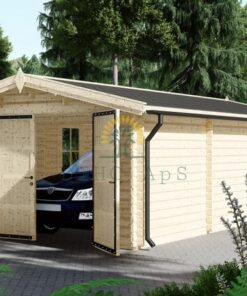 Træ garage 30m² (4m x 7,5m), 44mm