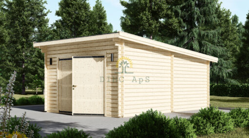 Træ Garage Modern fladt tag 24m², 44mm