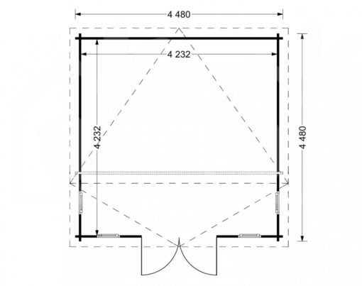 Bjælkehytte Alabama 20m² - PLAN