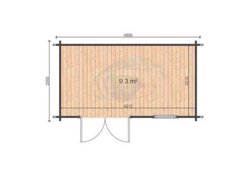 Erna 2,5 m x 4,5 m, 44mm floor plan