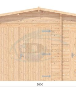 Garage med redskabsrum 5m x 5m, 44mm-front