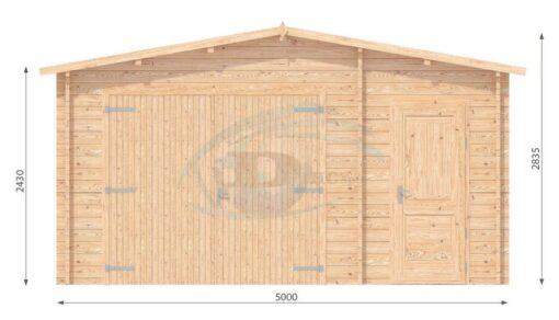 Garage med redskabsrum 5m x 5m, 44mm-front