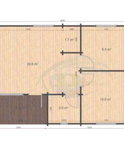 Iberica T2 6.36x8.86 floor plan