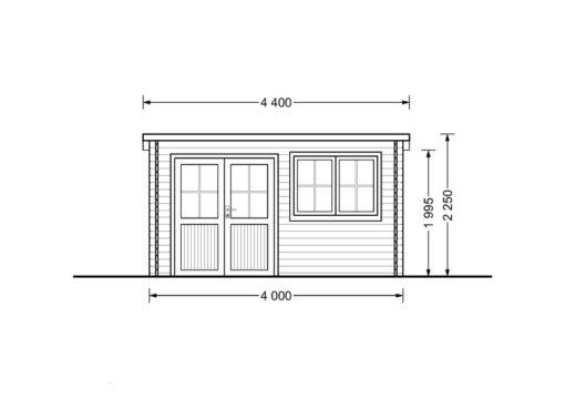 Bjælkehytte Lille fladt tag 12 m², 34mm_FRONT