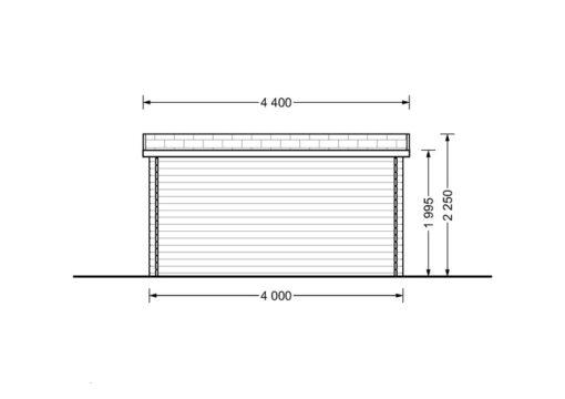 Bjælkehytte Lille fladt tag 12 m², 34mm_BACK
