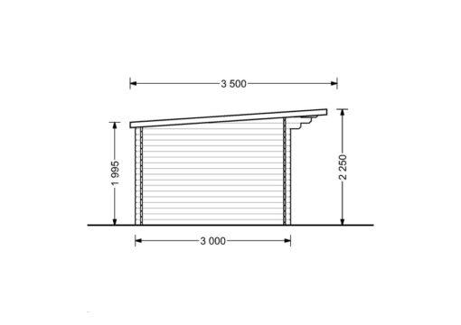 Bjælkehytte Lille fladt tag 12 m², 34mm_LEFT