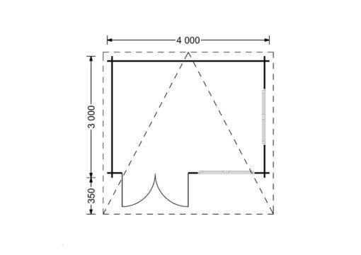 Bjælkehytte Lille fladt tag 12 m², 34mm_PLAN