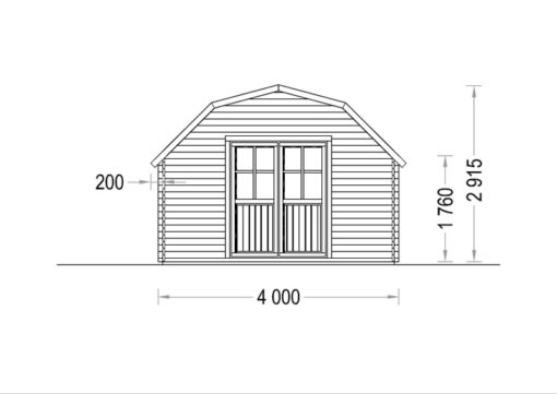 Bjælkehytte Orlando 16 m², 34 mm
