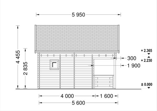 ALBI 20m² (5x4)+ terrasse, 44mm