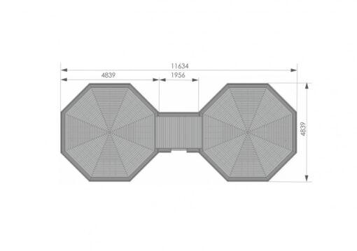 Camping Hytte 16.5 m² + 16.5 m² - PLAN