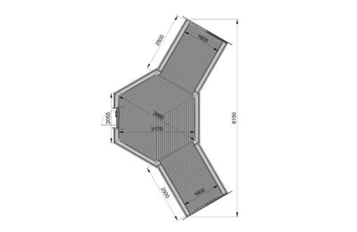 Camping hytte 9.2 m² med 2 udvidelser - PLAN