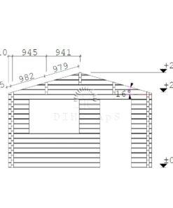 Bjælkehytte Bremen 4 m x 4 m, 68 mm - facade (1)