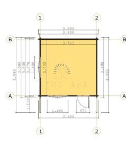 Bjælkehytte Bremen 4 m x 4 m, 68 mm - floor plan