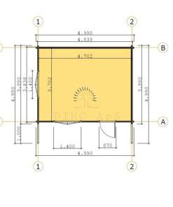 Gæstehus Bremen 5 m x 4 m, 68 mm - floor plan