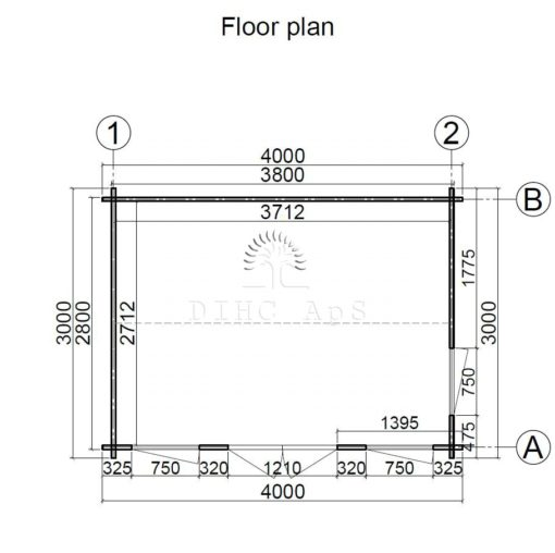 Clockhouse 4x3Haveskur Clockhouse 4 m x 3 m, 44 mm_floor plan