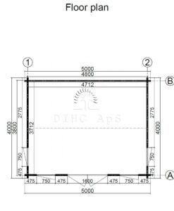 Havehytte Clockhouse 5 m x 4 m, 44 mm__floor plan