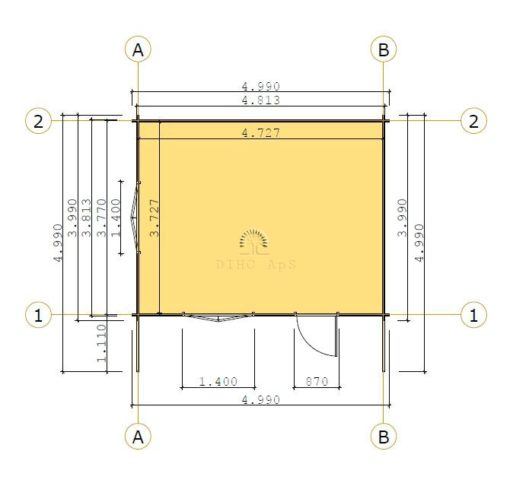 Havehytte Faro 5 m x 4 m, 44 mm: floor plan
