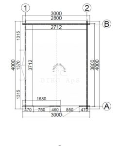 Haveskur Faro 3 m x 4 m, 44 mm_floor plan